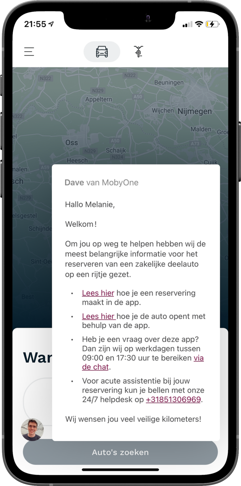 in-app message front
